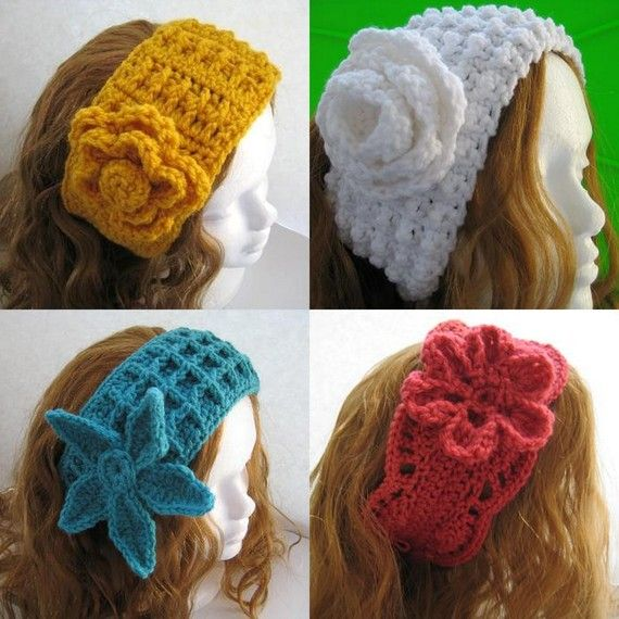 4 Earwarmer Crochet Patterns for 12.99, Crochet Ear Warmer or ...