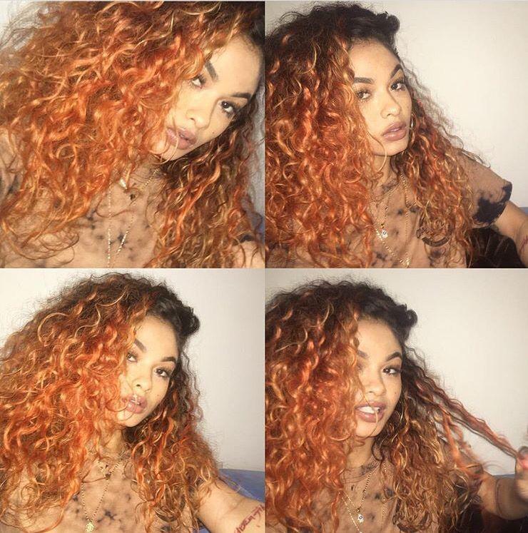 India Love Ombre Orange Curly Hair Orange Brown Hair Ombre Curly Hair Cool Hair Color