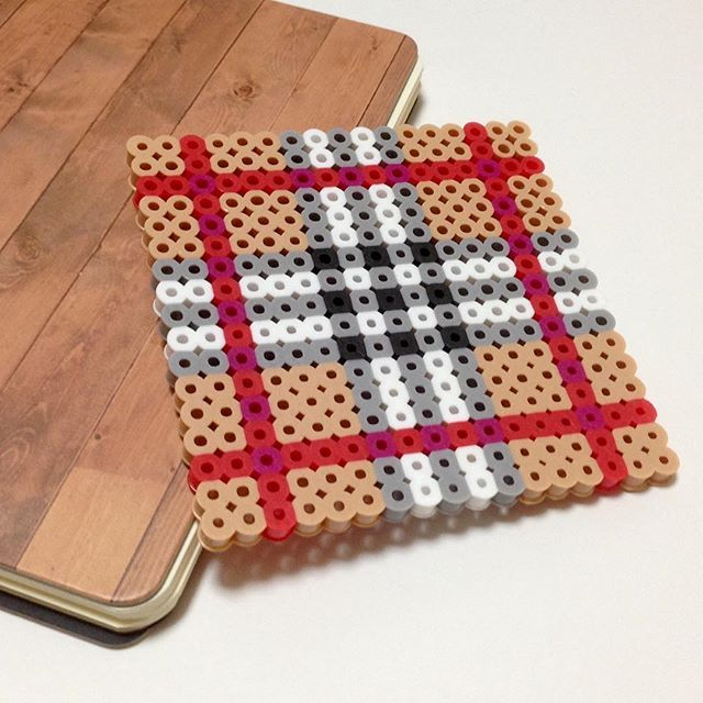 Inspired Burberry coaster perler beads... change the colors up to match your home decor for a more grown up feel! ;)