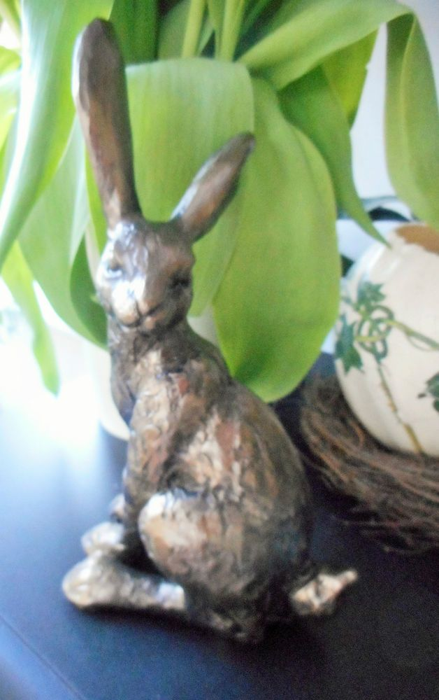 Sitting Hare/Rabbit Ornament Metal cast bronze look -March Hare Great detailing
