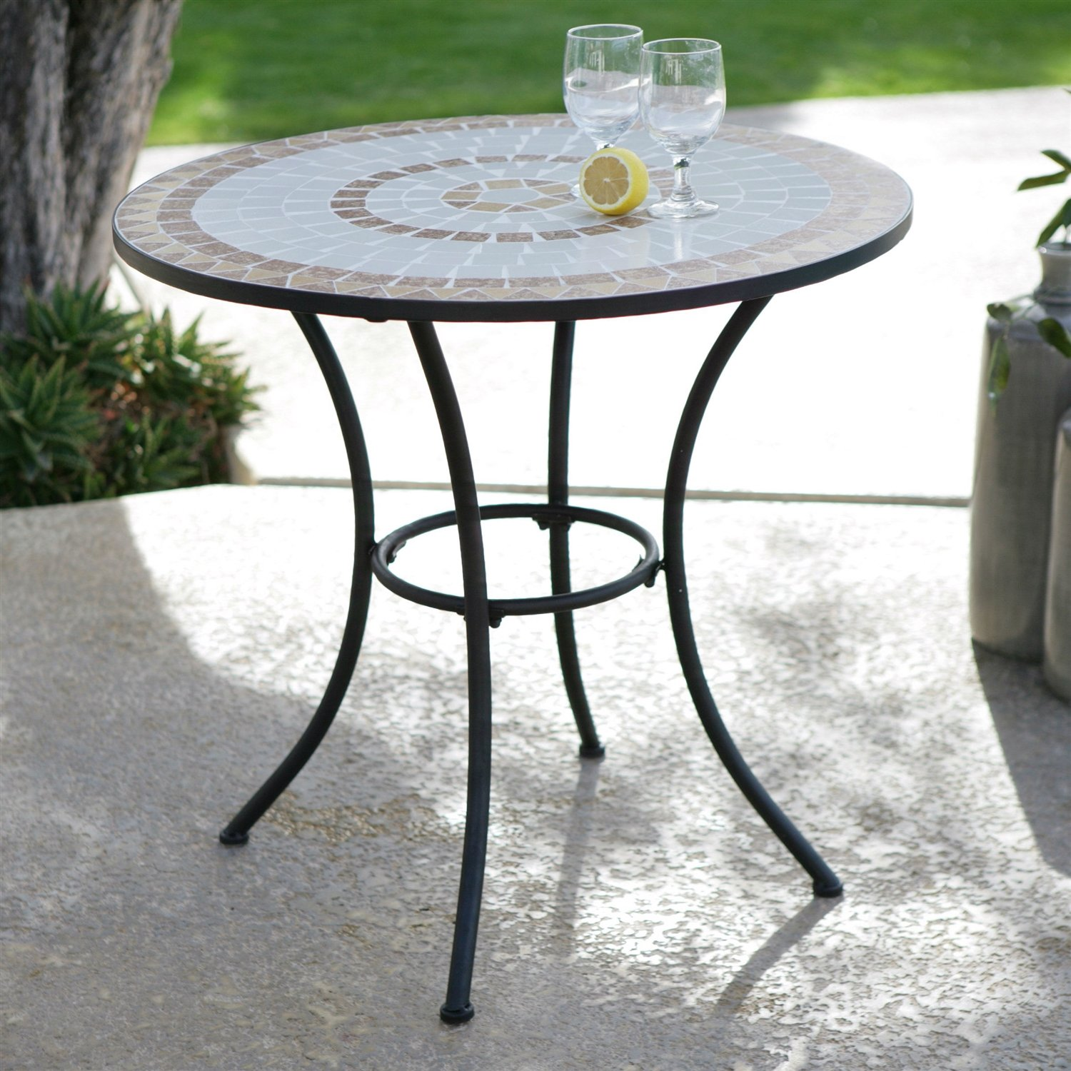Inch Round Bistro Style Wrought Iron Outdoor Patio Table With - 30 inch round outdoor table