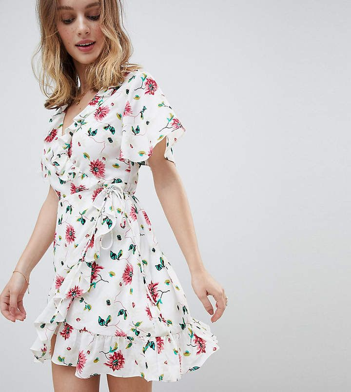 a774fb21393a Glamorous Petite Mini Wrap Dress With Ruffle Hem And Tie Waist In Ditsy  Floral