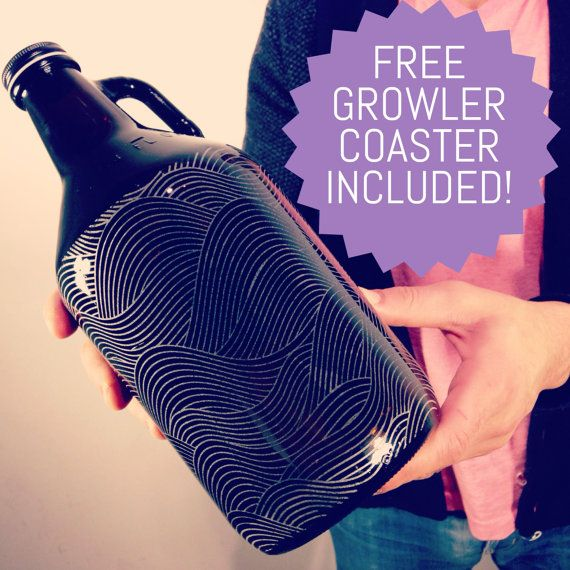 Custom engraved & personalised 64oz beer growler, holiday gift, groomsmen gift. UNLIMITED engraving size and FREE growler coaster included!