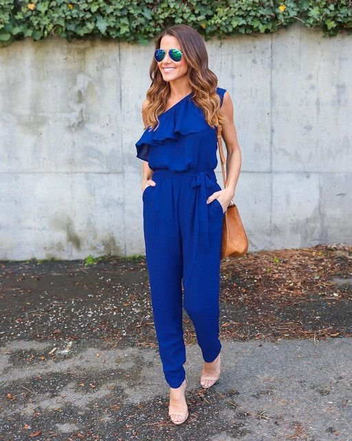 7b991b3279b Ruffles Chiffon Jumpsuits Plus Size Overalls Summer Women Sexy Casual One  Shoulder Long Playsuits Rompers Womens Jumpsuit GV608