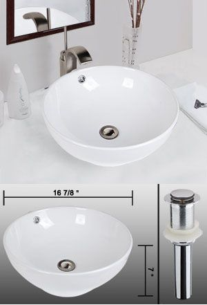 Bathroom Bowl Shape Porcelain Sink Overflow with Drain