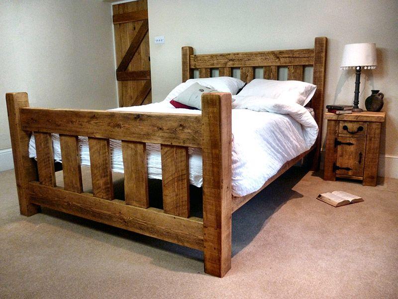 Rustic Pine Slat Bed Frame in 2020 Rustic bedding