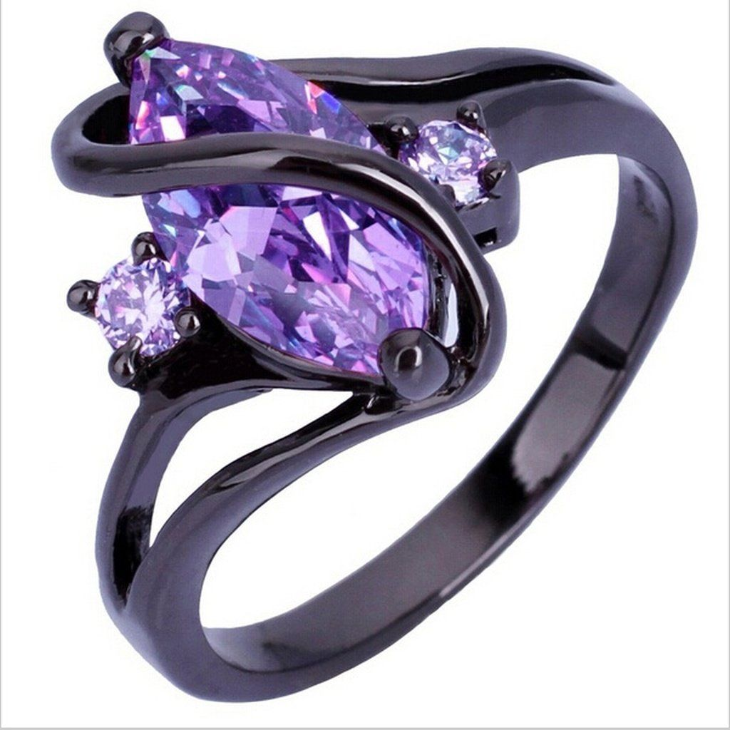 Women's Fashion Jewelry Black Gold Amethyst Cubic Zirconia