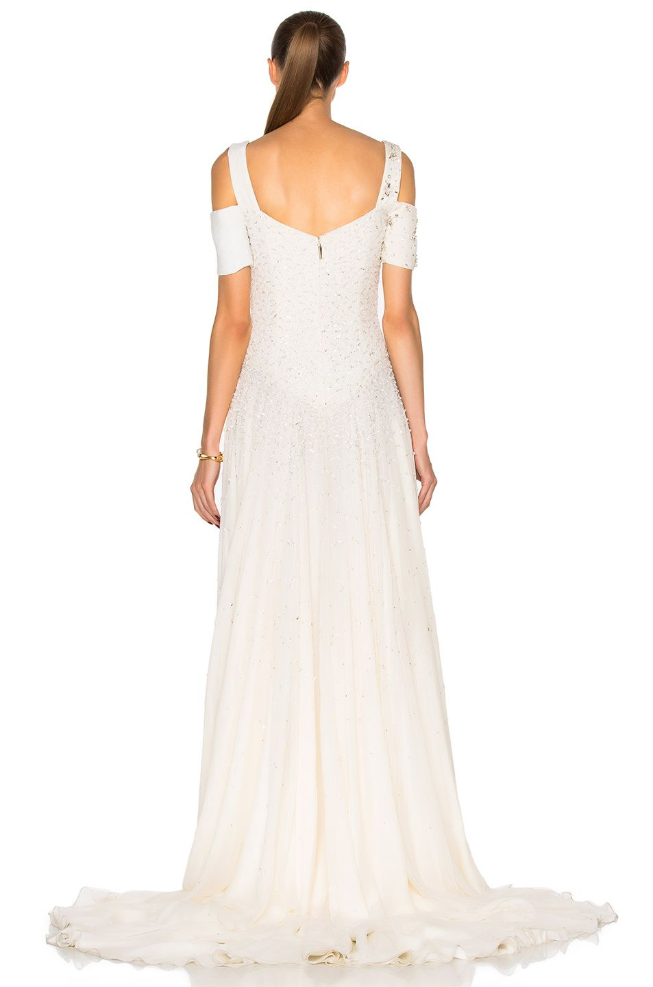 Image of prabal gurung embroidered cold shoulder gown in snow