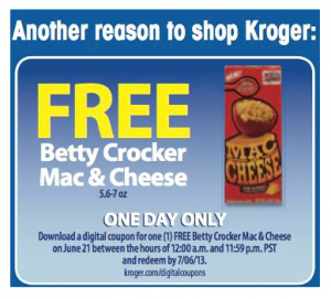 Kroger FREE eCoupon: Betty Crocker Mac  Cheese, Today Only
