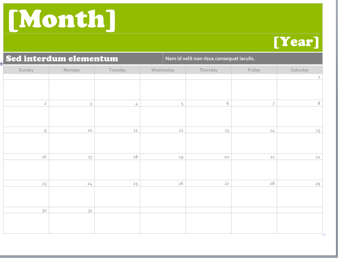 ms word calendar template