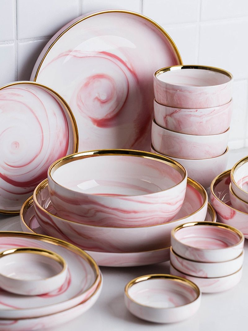 Penelope Collection Pink Marble Dinnerware - Voguenest