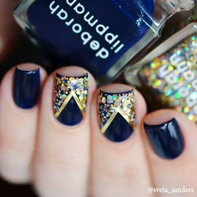 Esmalte azul, glitter dorado   cute nails   Pinterest   Esmalte y Azul