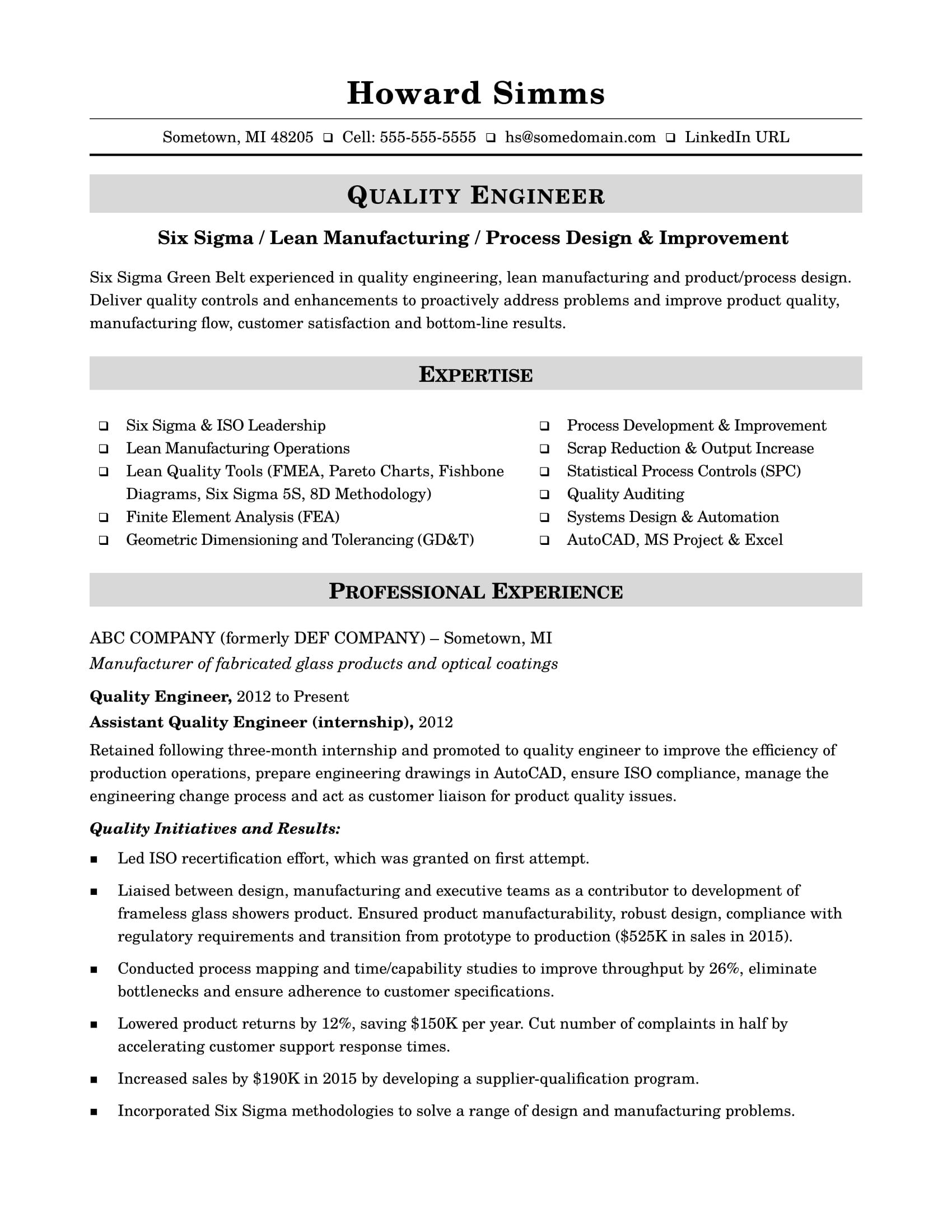 Sample resume for a midlevel quality engineer Resume