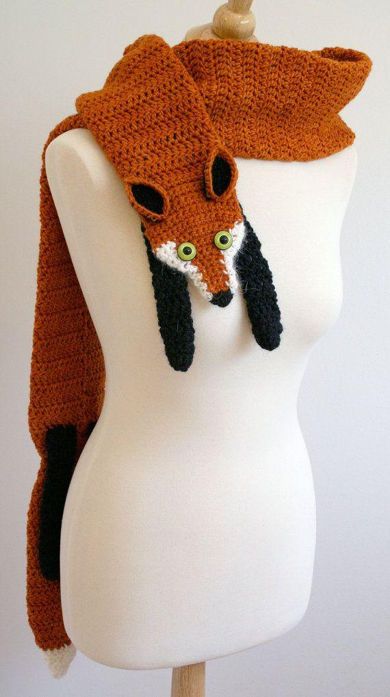 Pdf Crochet Pattern For Fox Scarf Diy Fashion Tutorial Fox Scarf