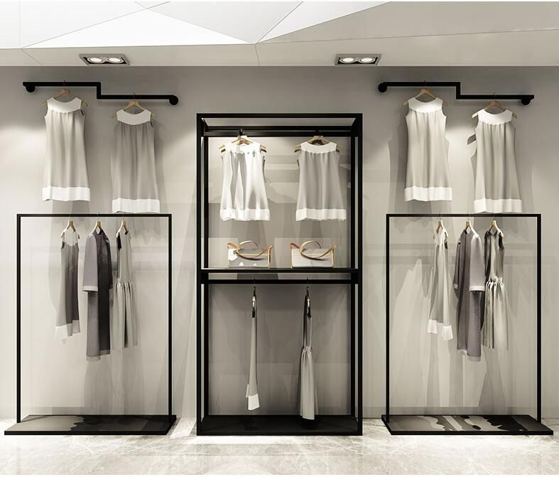 Clothing store display rack wall mens and womens