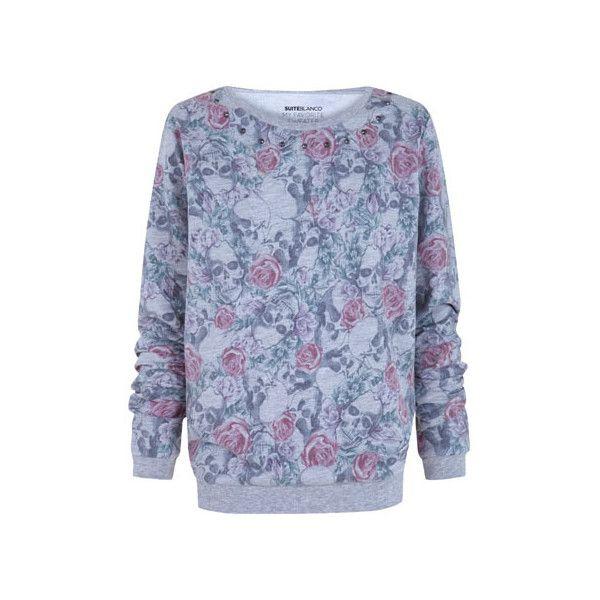 suéter estampado caveiras tachas ($30) ❤ liked on Polyvore