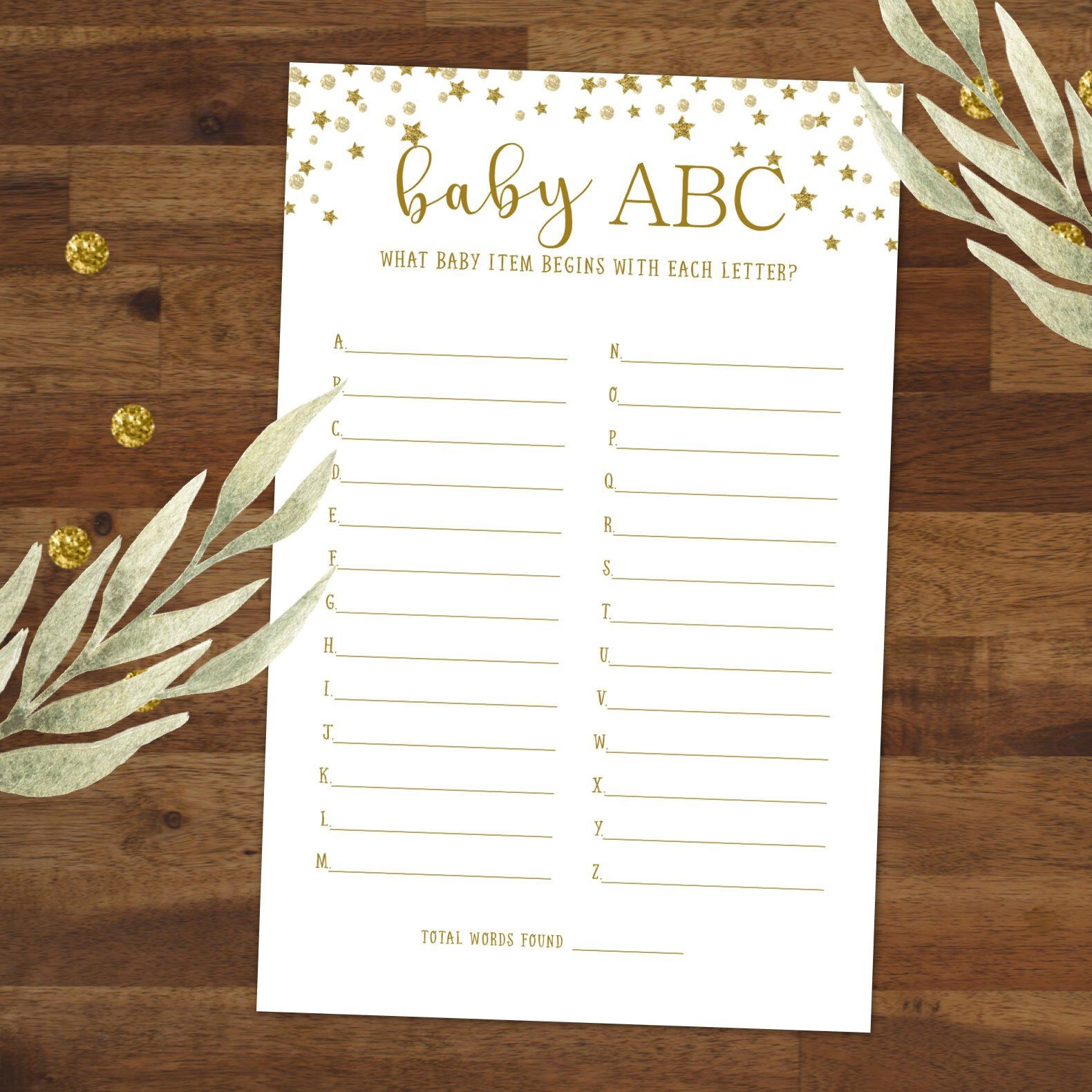 Baby ABC Game, Baby items game, Alphabet game, Baby Shower ...