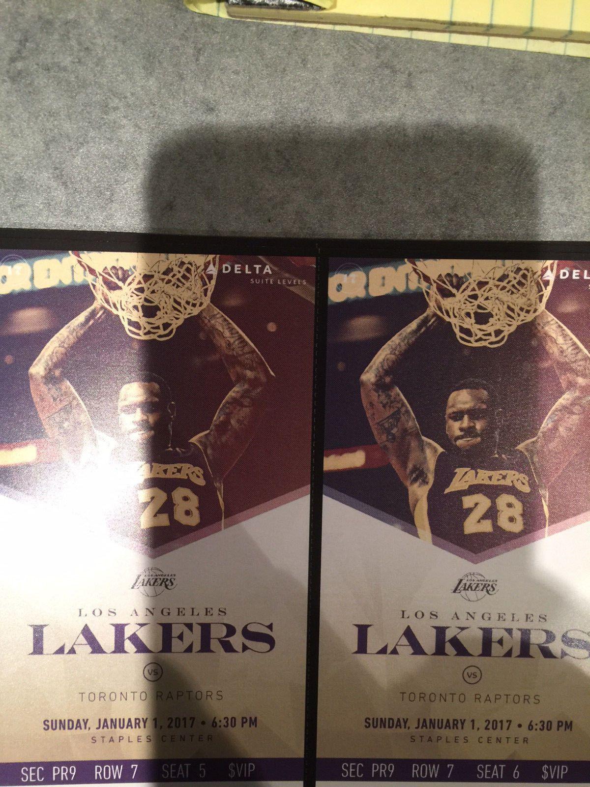 Tickets Two 2 Los Angeles Lakers Vs Toronto Raptors Vip Tickets