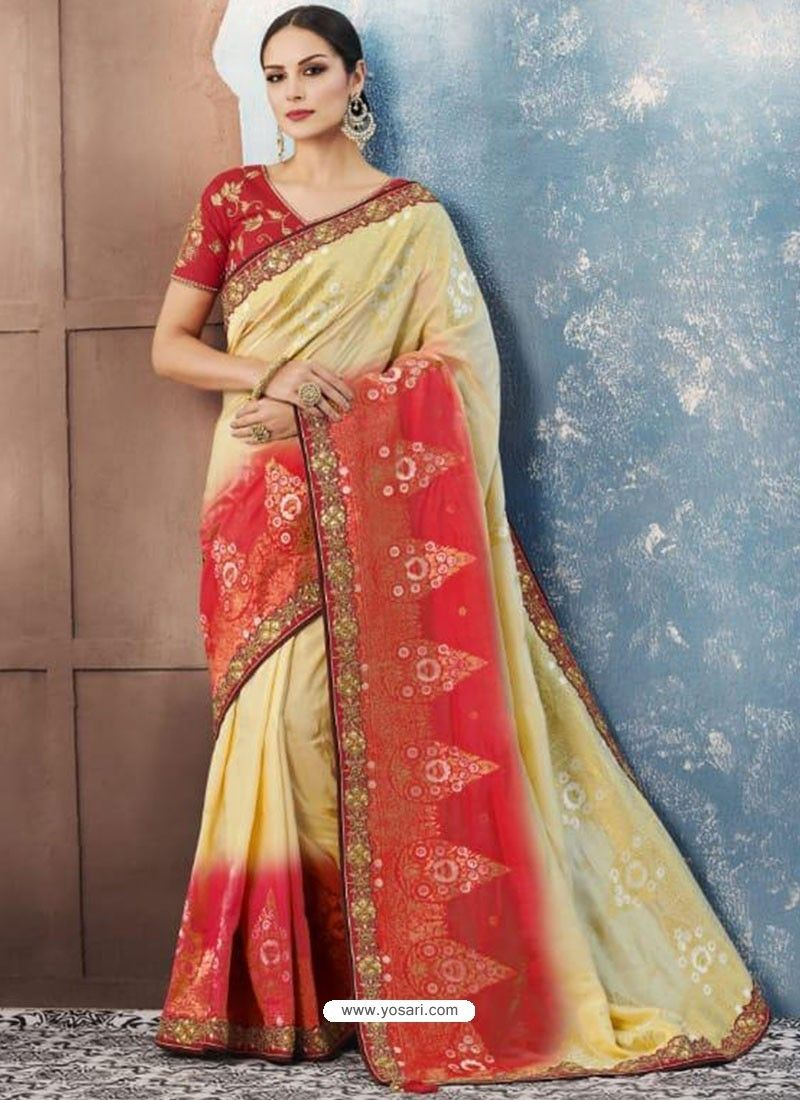 35132a8d8f Khaki And Red Silk Embroidered Designer Saree. Khaki And Red Silk  Embroidered Designer Saree Sarees Online India ...