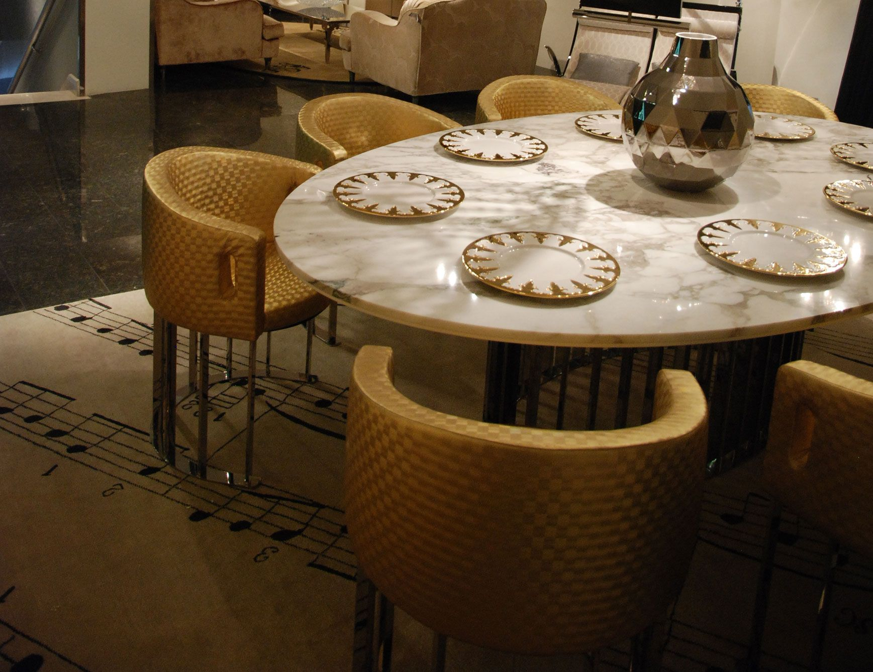Tilmun Luxury Italian Dining Table Shown With A Marble Calacatta