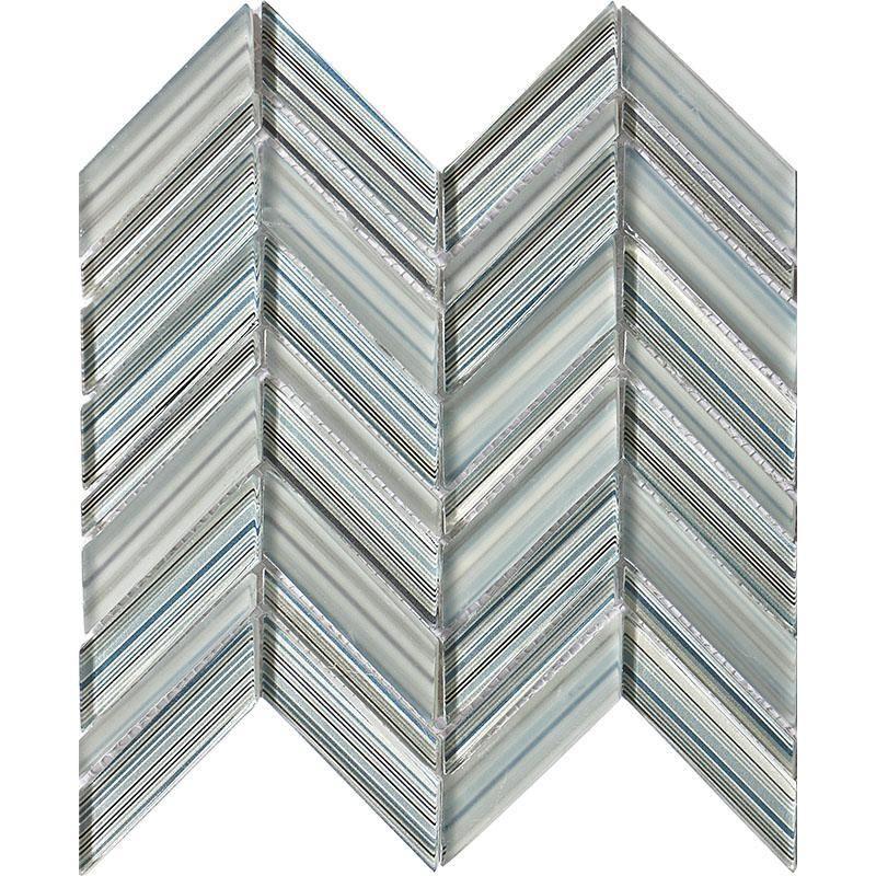Fabrique Blue Grey Chevron Glass Mosaic Tile