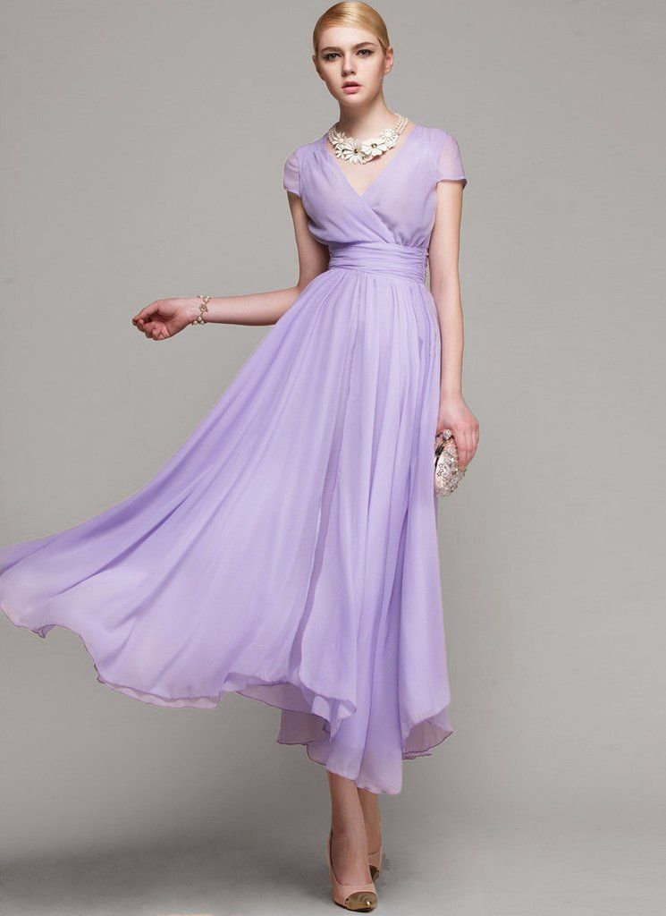 bbf6b584d7e3 A Special Sale 42% Off V Neck Violet Midi Dress with Layered Skirt and  Ruched…