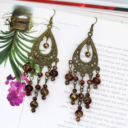 Long Brown Chandelier Earrings
