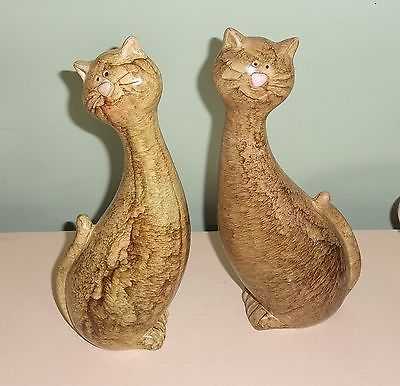 Pair of pottery cats