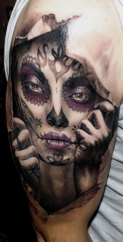 Day of the Dead Tattoos | Day of the Dead 3D Sleeve done by Tommy ...
