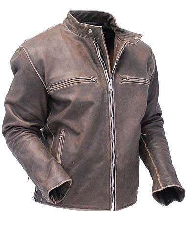 Vintage-Style Raven Leather Motorcycle Jacket   Triumph ...