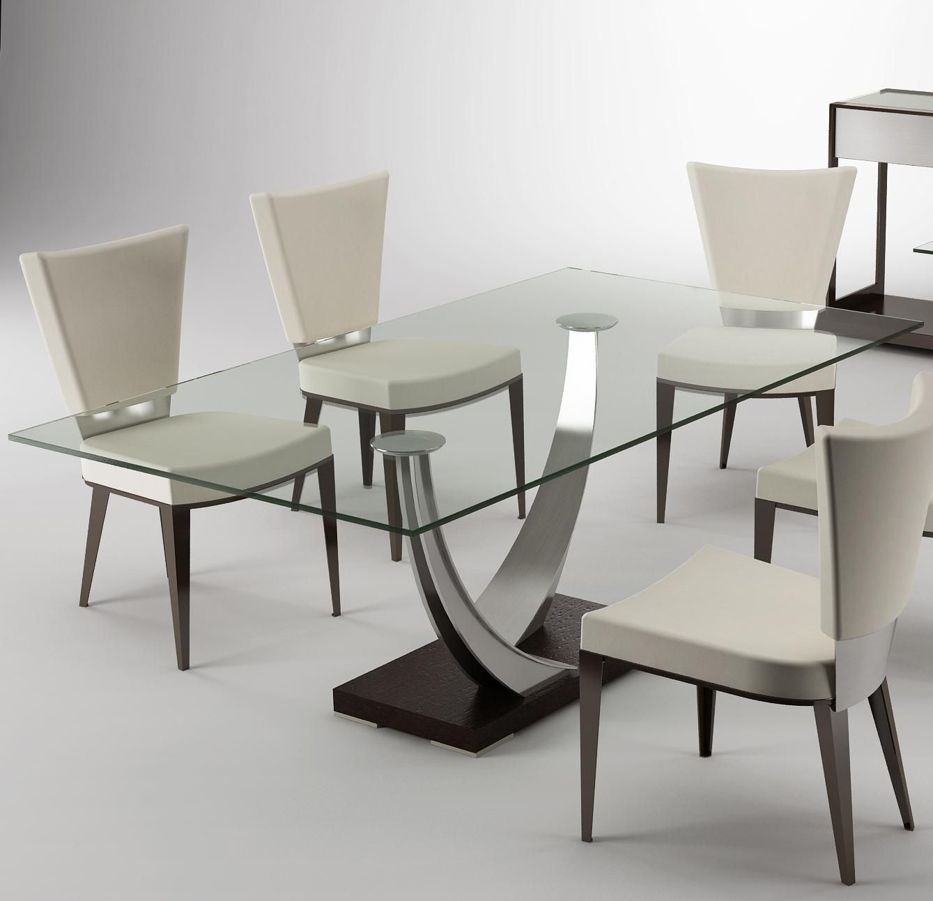 Modern Dining Tangent Dining Table By Elite Furniture Glass Dining Table Decor Dining Room Contemporary Glass Dining Room Table