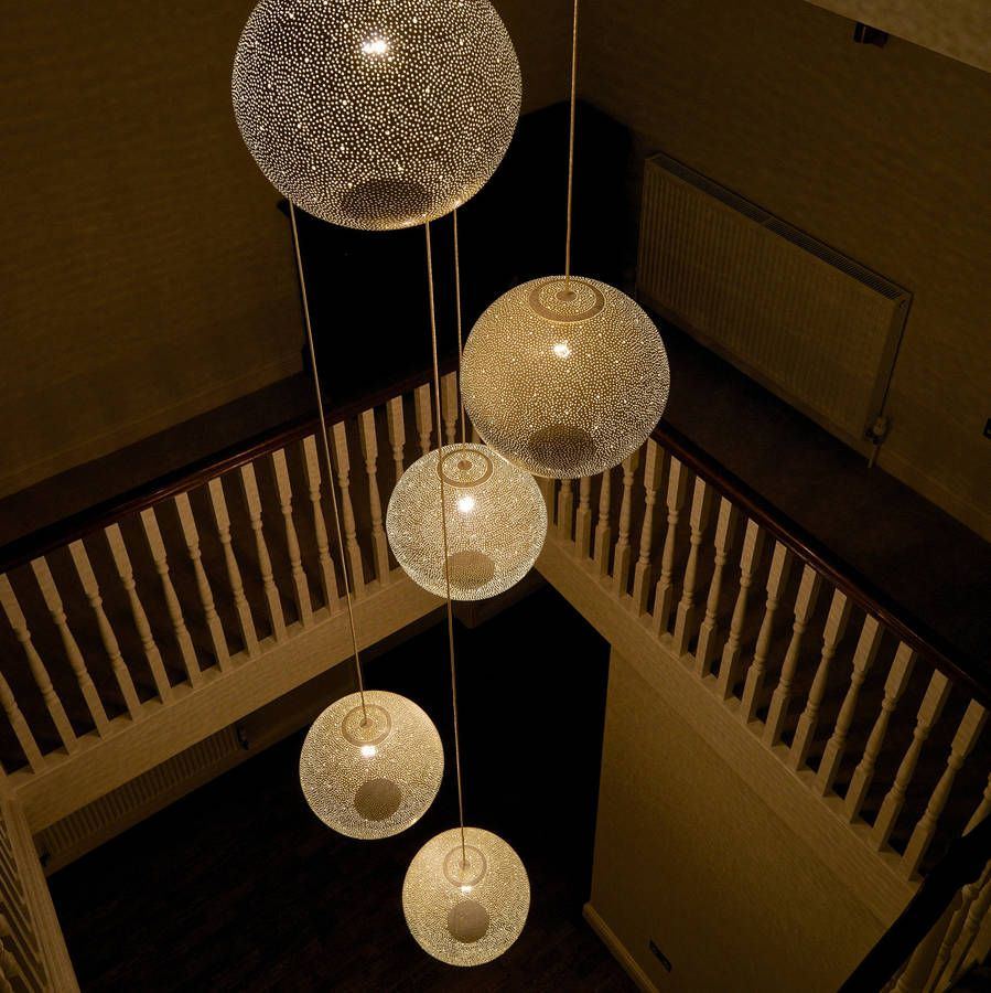 Stairwell Pendant Lighting Ideas : A cluster of white rita pendant lights over stairwell