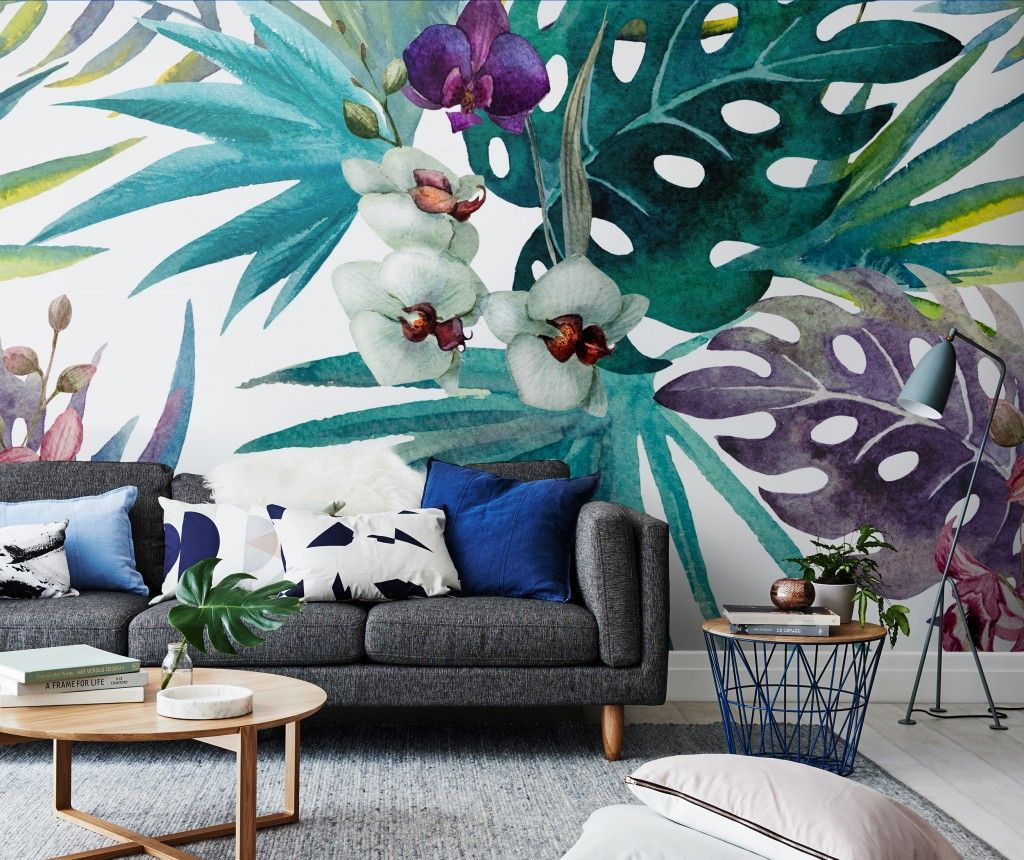 Botany In Living Room Wall Mural Decor Wall Murals Mural Wallp