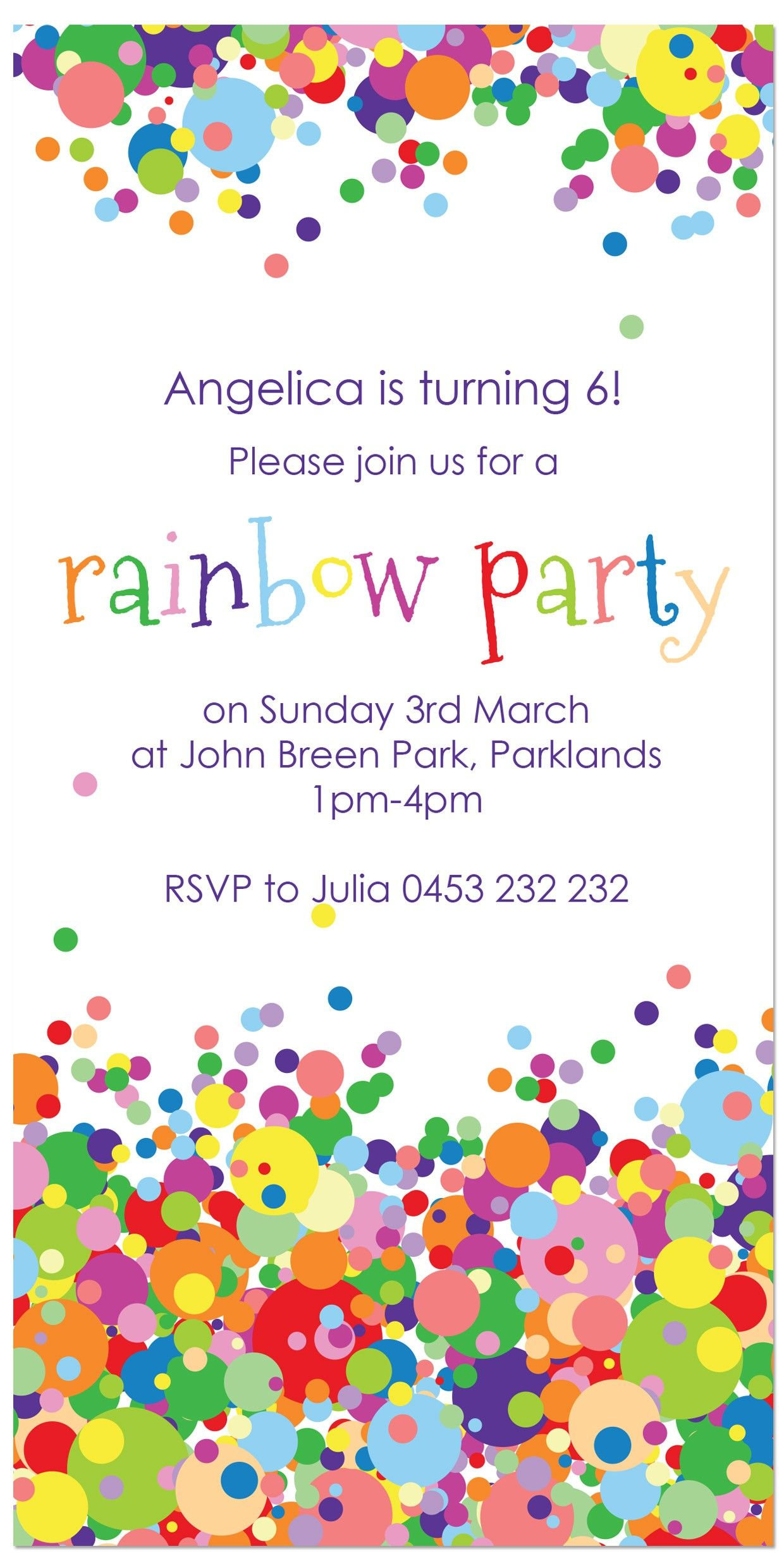 Rainbow Party Birthday Invitations Personalised party