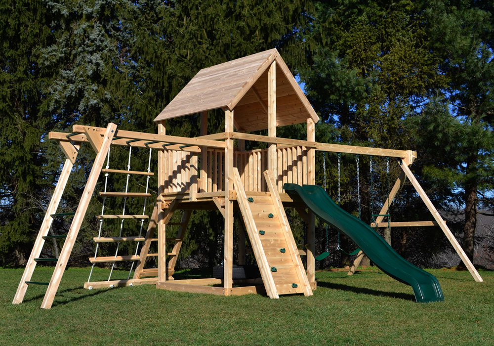 wooden play structures - Google Search   Swing set diy ...