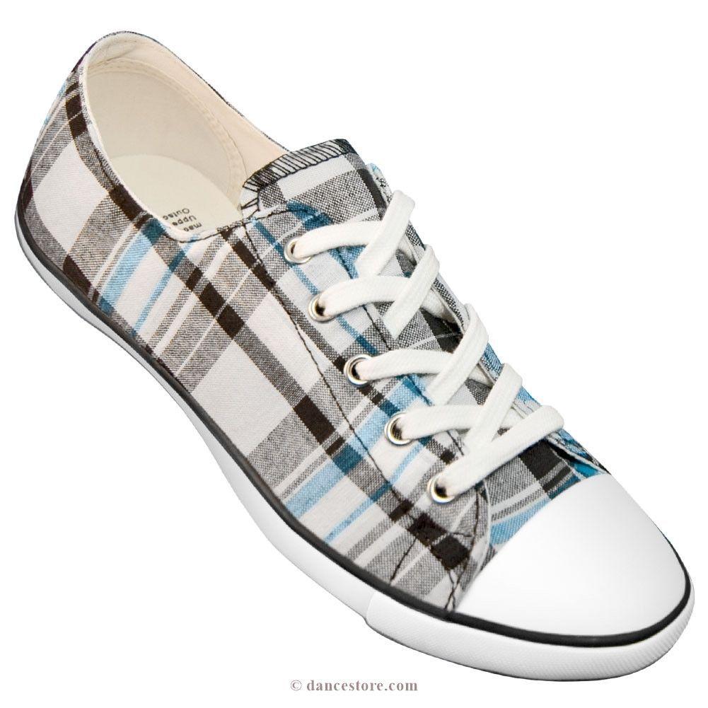38679e445 Aris Allen Women's Black, White and Blue Plaid Classic Tomboy Dance Sneaker  - *Limited Sizes*
