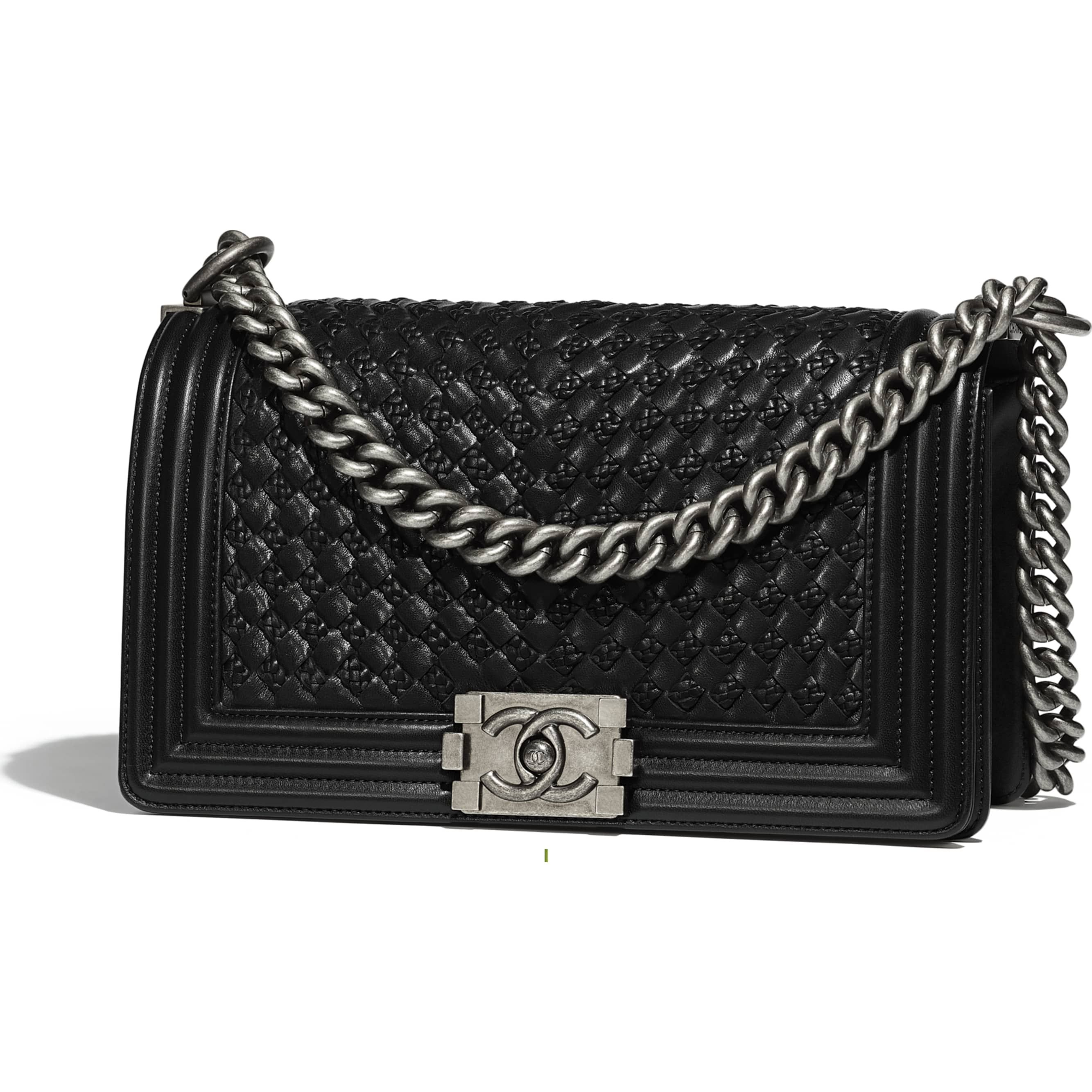 7704b0cca83e Braided Calfskin & Ruthenium-Tone Metal Black BOY CHANEL Handbag | CHANEL