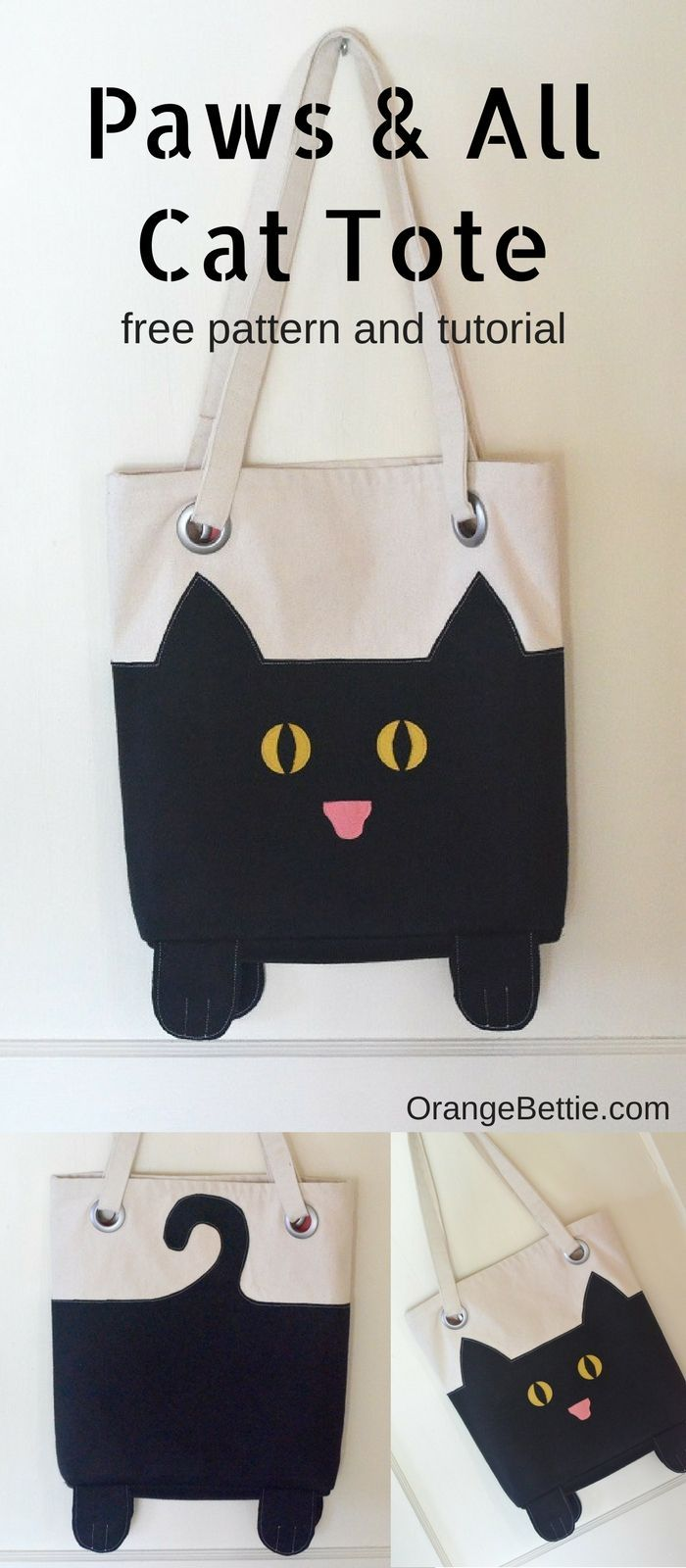 605acdb428fe0 Paws And All Cat Tote – free sewing pattern – Orange Bettie