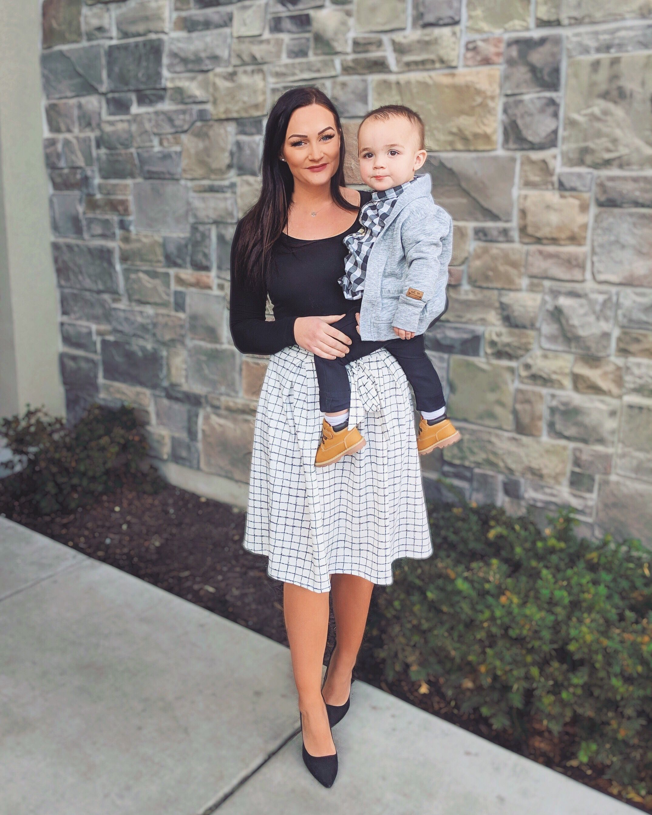 Mom and baby church outfit  Young mom outfits, Boys dressy