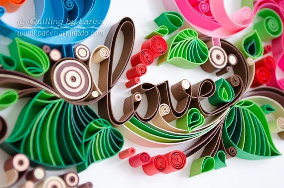 Quilling wall art Quilling art Paper quilling Love Birds Wedding Quilling heart Wedding Anniversary Love day Handmade Decor Design Gift This piece will be made to order. The artwork is very colorful and will give gladness and a lot of positive emotions for you :) This wall art is