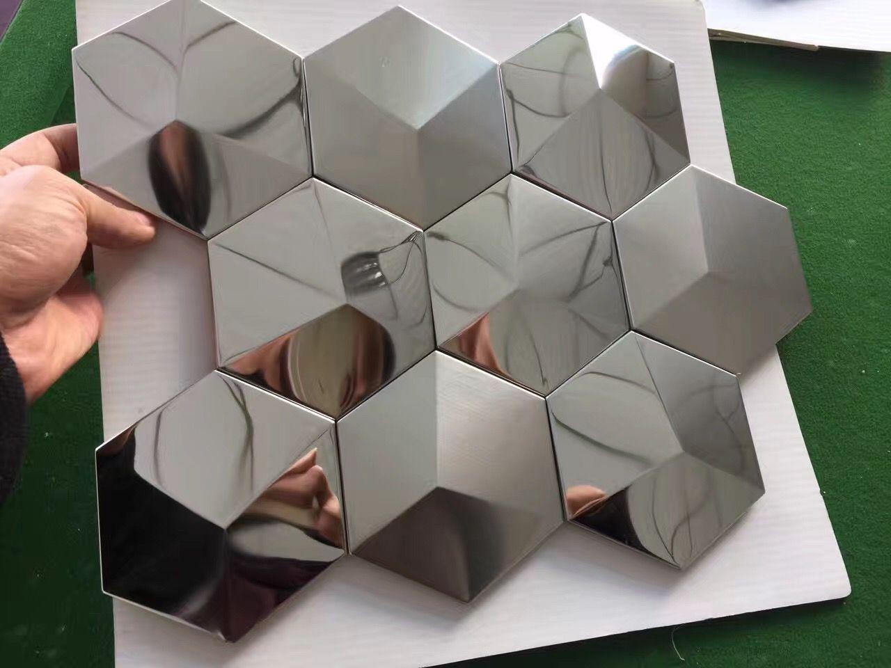 Silver Metal Mosaic Tile Stainless Steel Tile Pyramid Patterns Kitchen Backsplash Wall Brick Tiles Metal Mirror Wall Designs Xgmt005 Metal Mosaic Tiles Stainless Steel Tile Mosaic Tiles