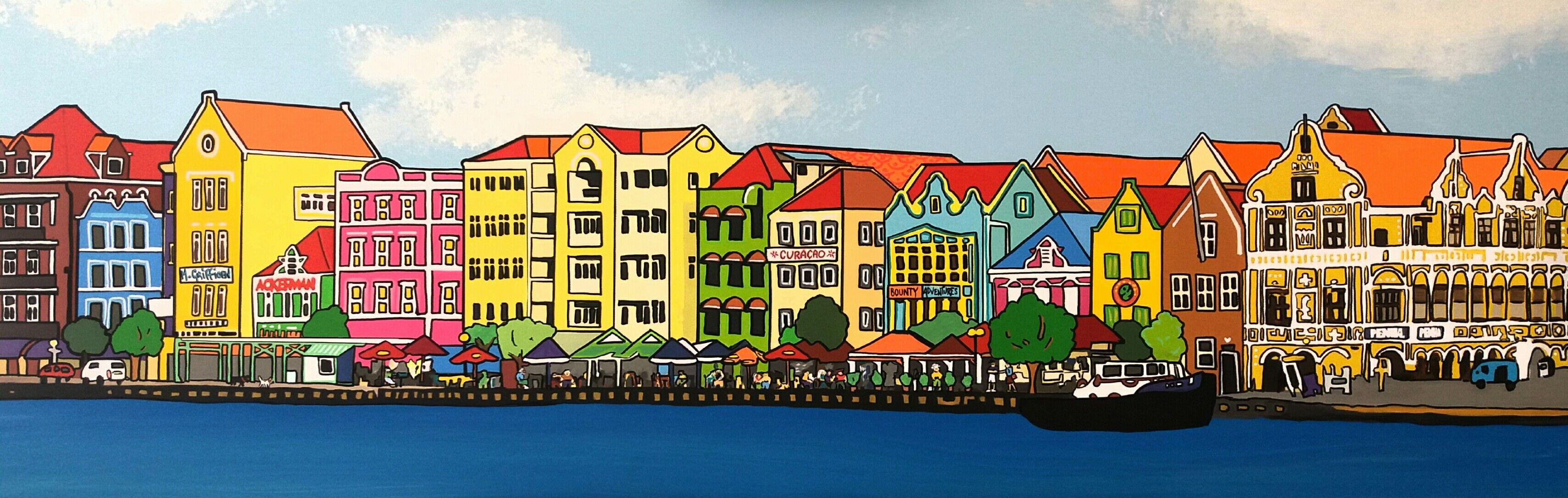 Handelskade By Mirjam Griffioen Caribbean Art Griffioenen Muur Tekening Curacao