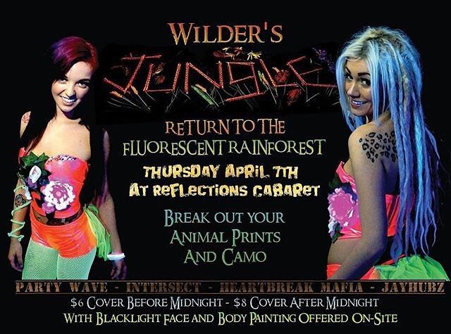 TONIGHT from @my_wilder_mind  Tonight! We're decking out @reflectionscabaret to look like a fluorescent rainforest ;P Come join in! #wilderswunderground #wilders