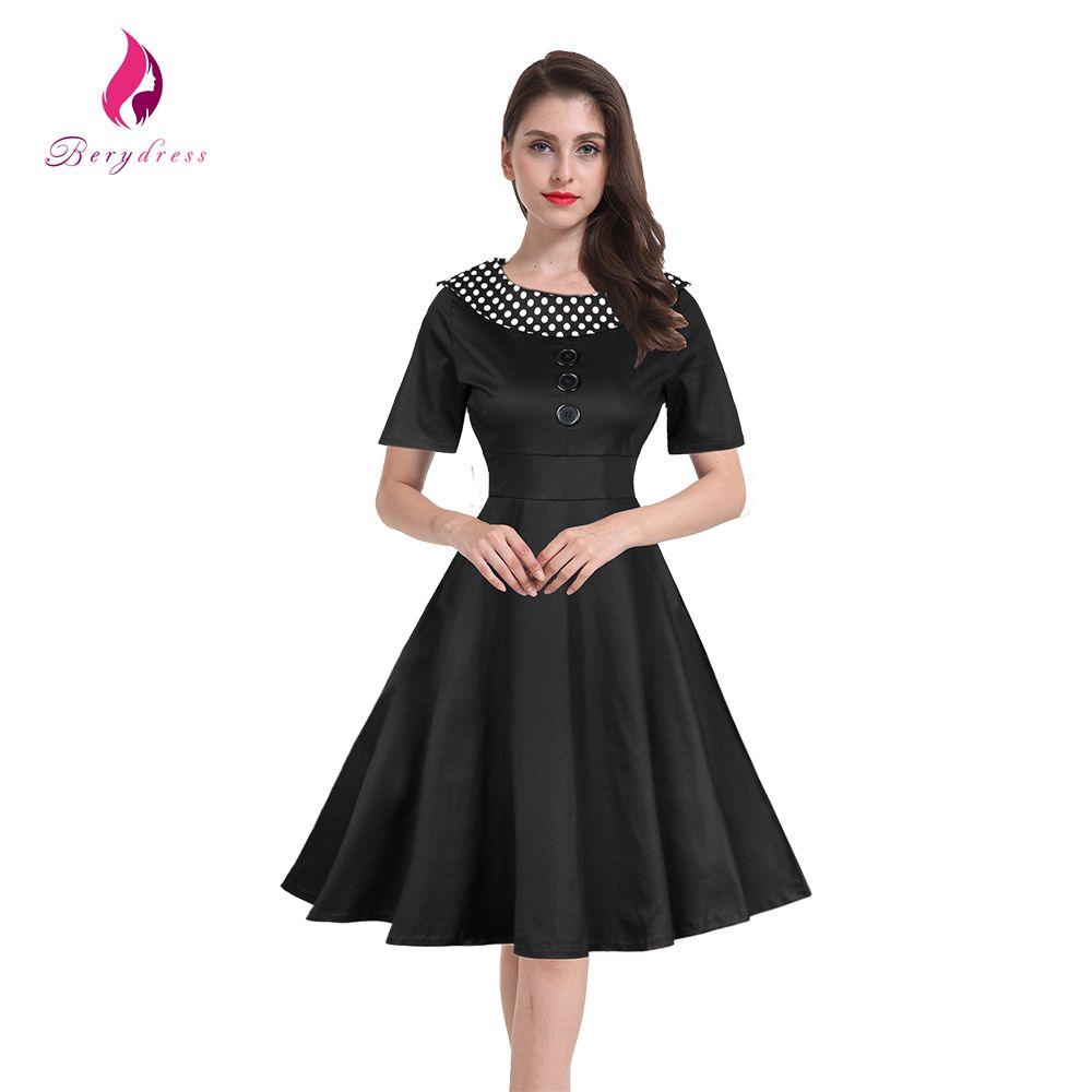 Berydress vintage womens big sizes party tunic dresses retro polka