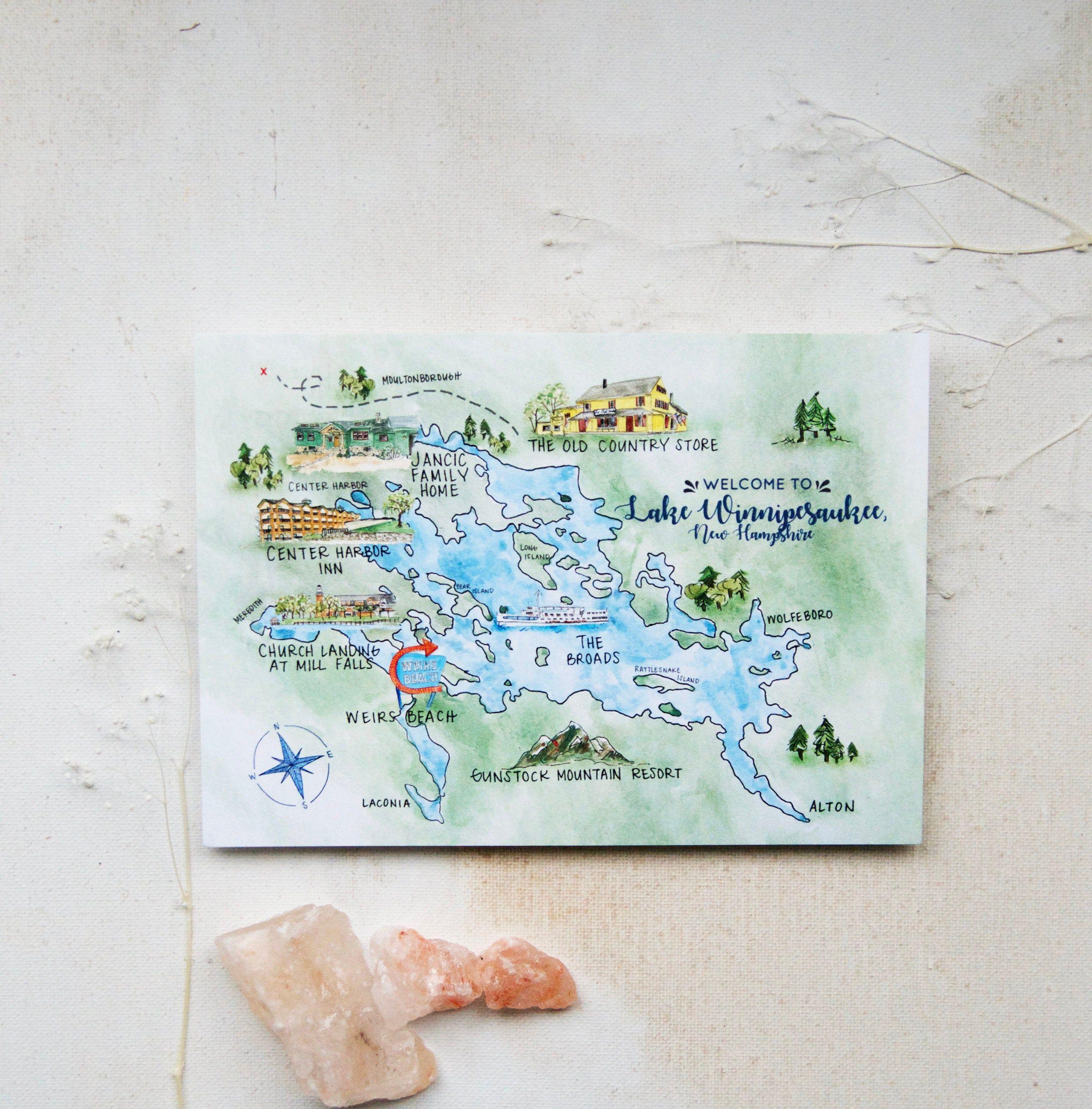 Lake Winnipesaukee Map Watercolor Map Digital Invitation Etsy