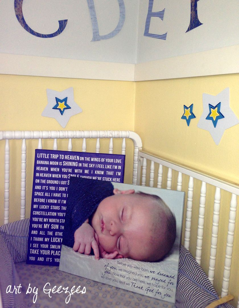 Baby Nursery Wall Art Baby photograph on canvas with poem sleeping ...