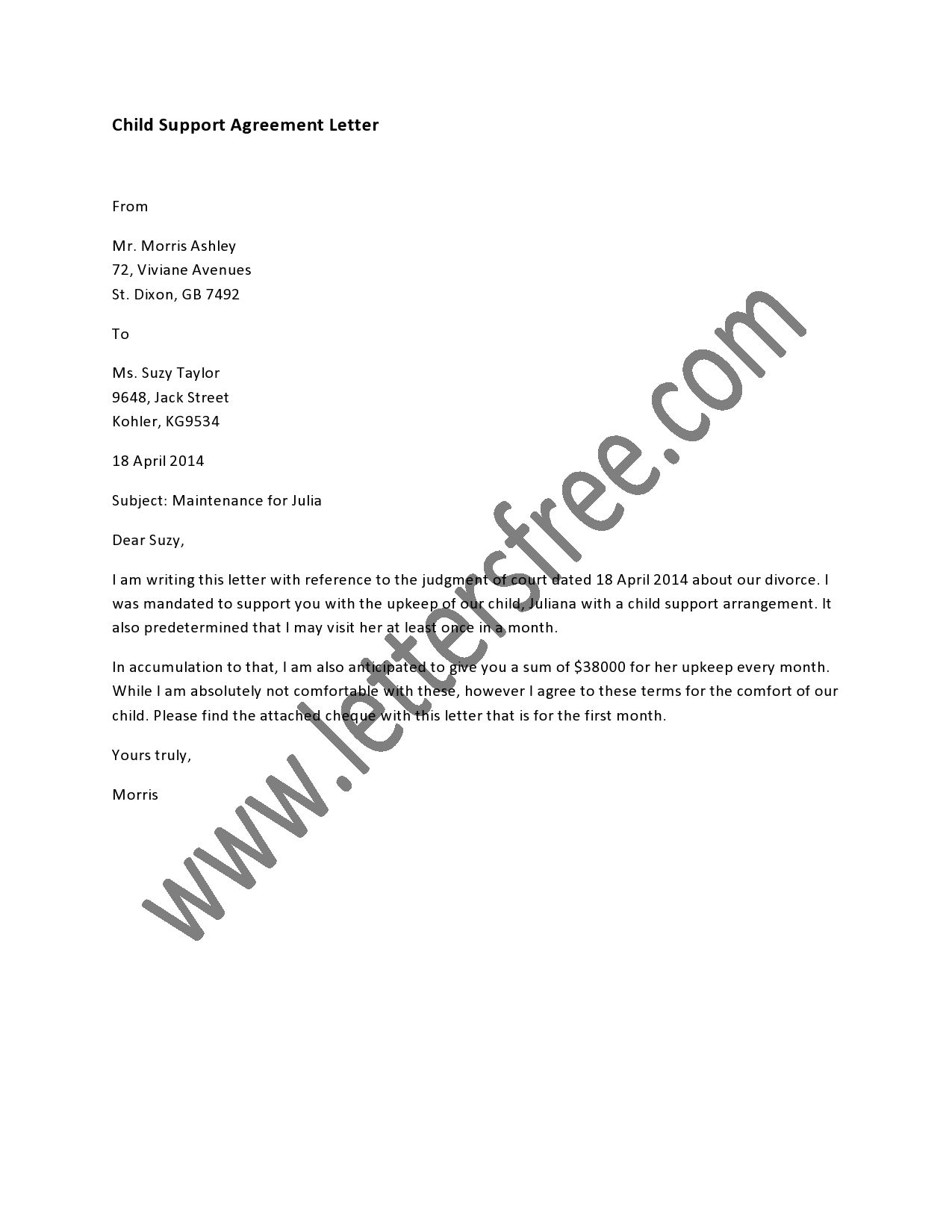 child support agreement letter