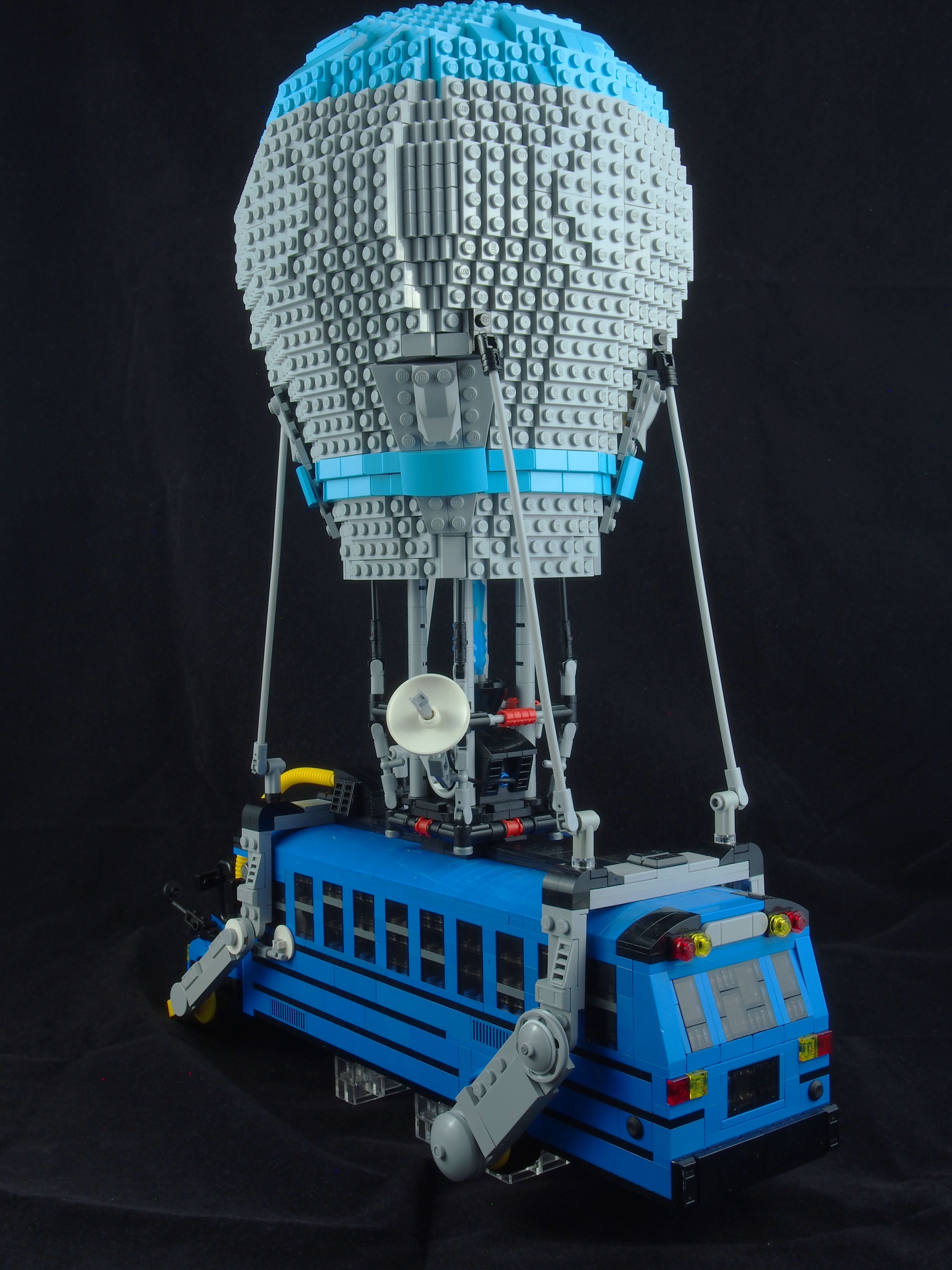 prepare to drop into a battle royale in a lego fortnite battle bus the brothers brick the brothers brick - fortnite bus drop sound