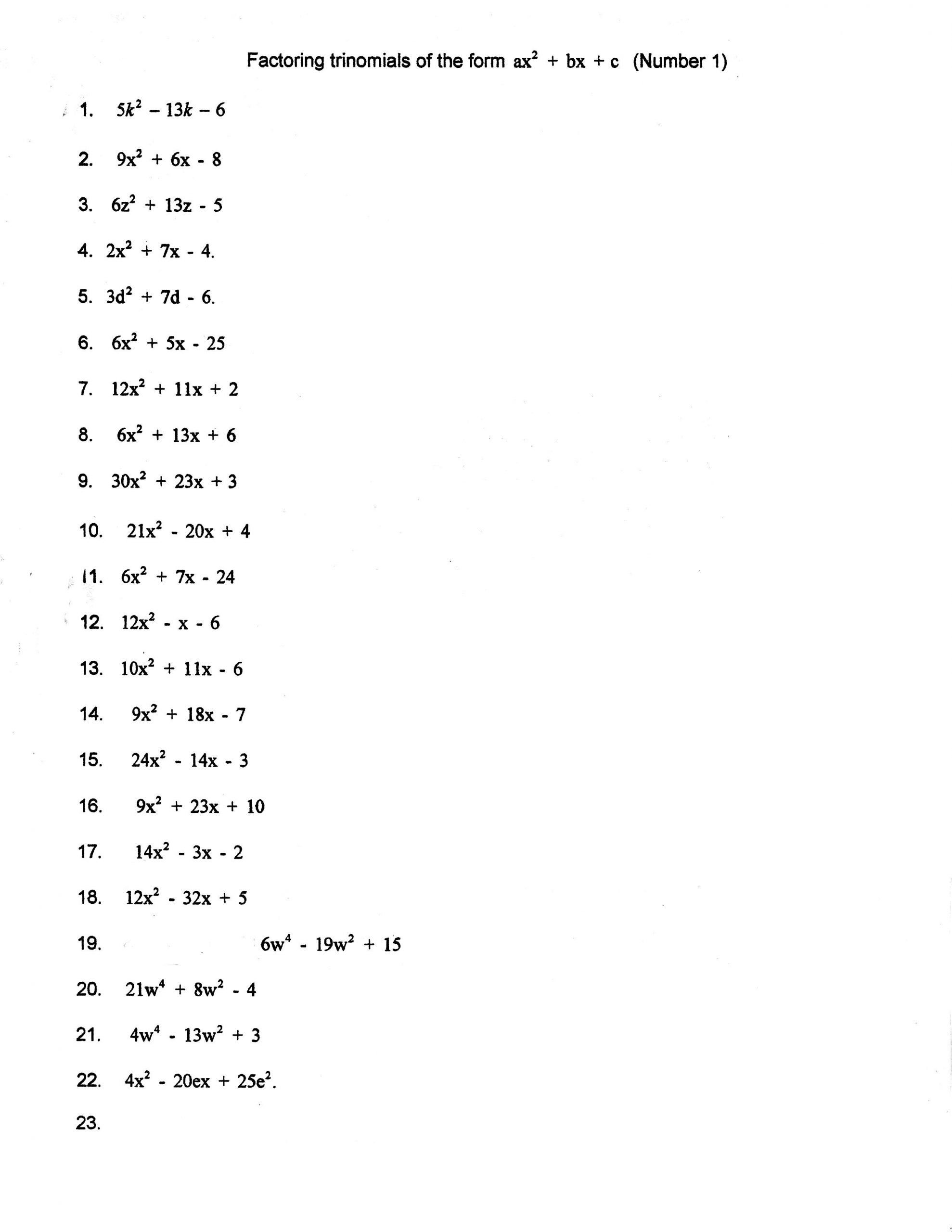 Algebra 2 Factoring Worksheet Solving Quadratics By