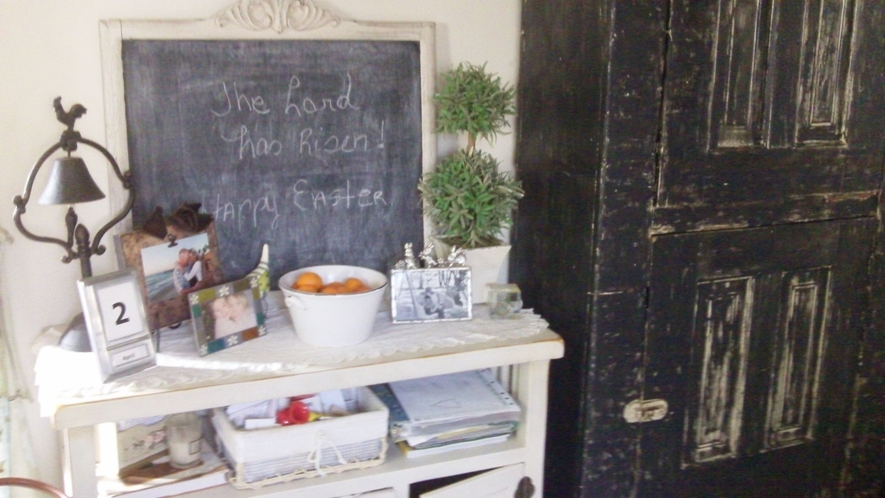 Old cabinet we found at a flea market, painted and use for ...
